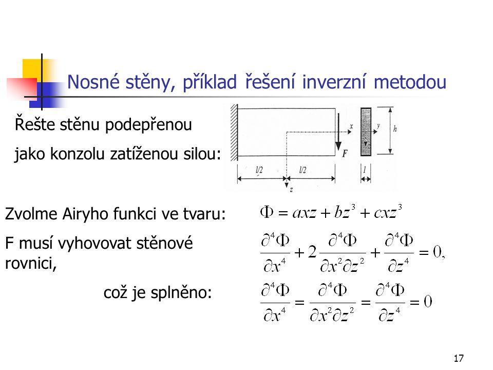 17 Nosné stěny, příklad řešení inverzní metodou Řešte stěnu podepřenou jako konzolu zatíženou silou: Zvolme Airyho funkci ve tvaru: F musí vyhovovat s