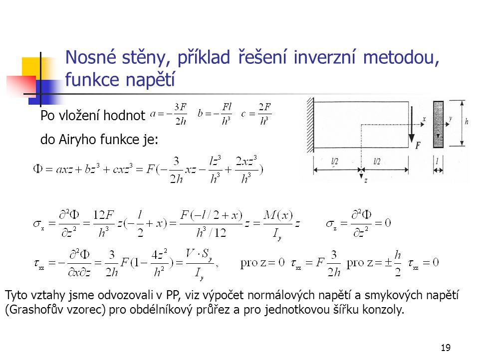 19 Nosné stěny, příklad řešení inverzní metodou, funkce napětí Po vložení hodnot do Airyho funkce je: Tyto vztahy jsme odvozovali v PP, viz výpočet no