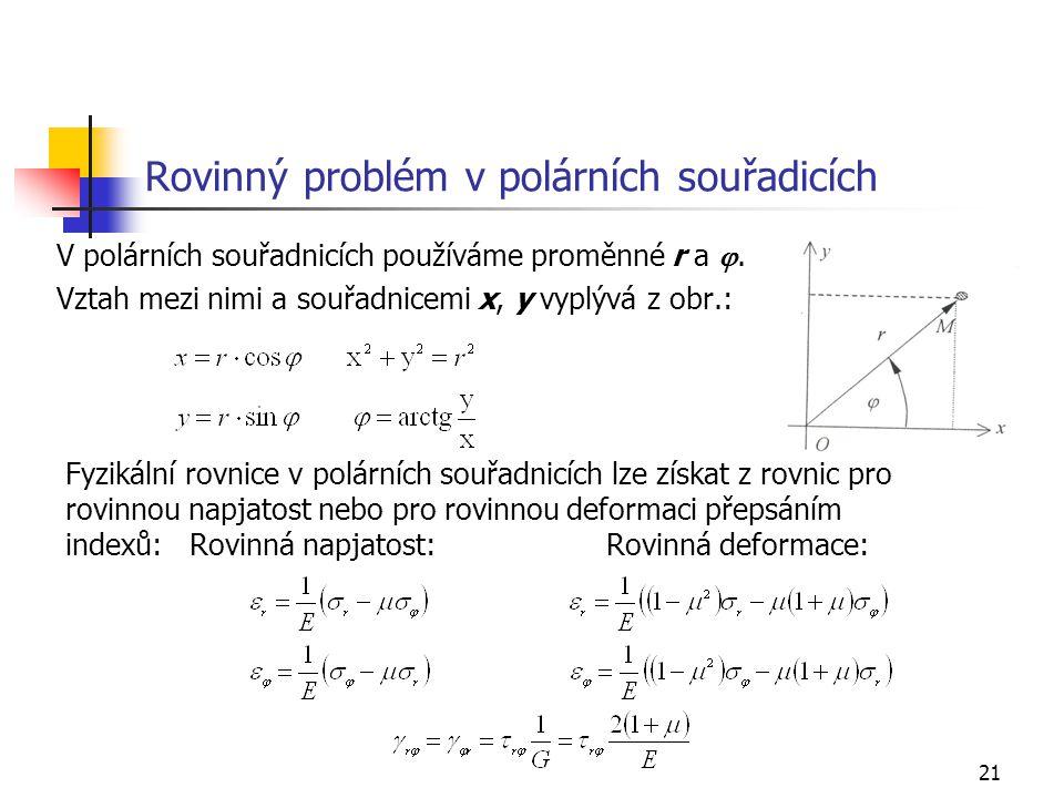 21 Rovinný problém v polárních souřadicích V polárních souřadnicích používáme proměnné r a . Vztah mezi nimi a souřadnicemi x, y vyplývá z obr.: Fyzi
