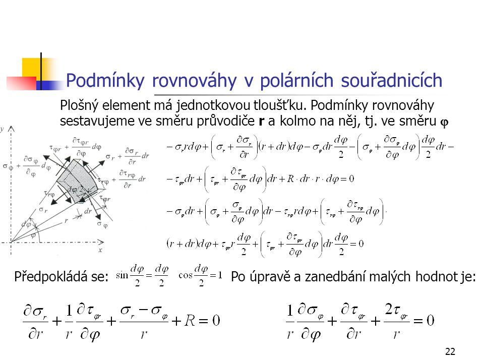 22 Podmínky rovnováhy v polárních souřadnicích Plošný element má jednotkovou tloušťku. Podmínky rovnováhy sestavujeme ve směru průvodiče r a kolmo na