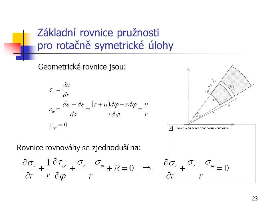 23 Základní rovnice pružnosti pro rotačně symetrické úlohy Geometrické rovnice jsou: Rovnice rovnováhy se zjednoduší na: