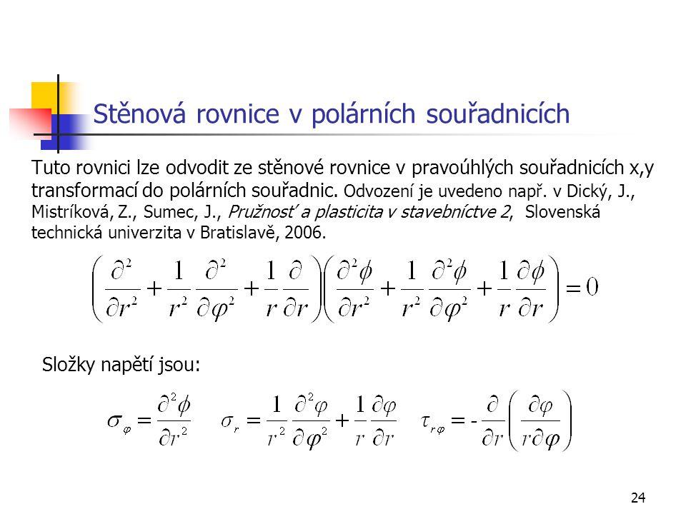 24 Stěnová rovnice v polárních souřadnicích Tuto rovnici lze odvodit ze stěnové rovnice v pravoúhlých souřadnicích x,y transformací do polárních souřa