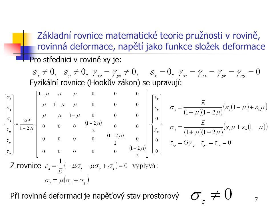 7 Základní rovnice matematické teorie pružnosti v rovině, rovinná deformace, napětí jako funkce složek deformace Pro střednici v rovině xy je: Fyzikál
