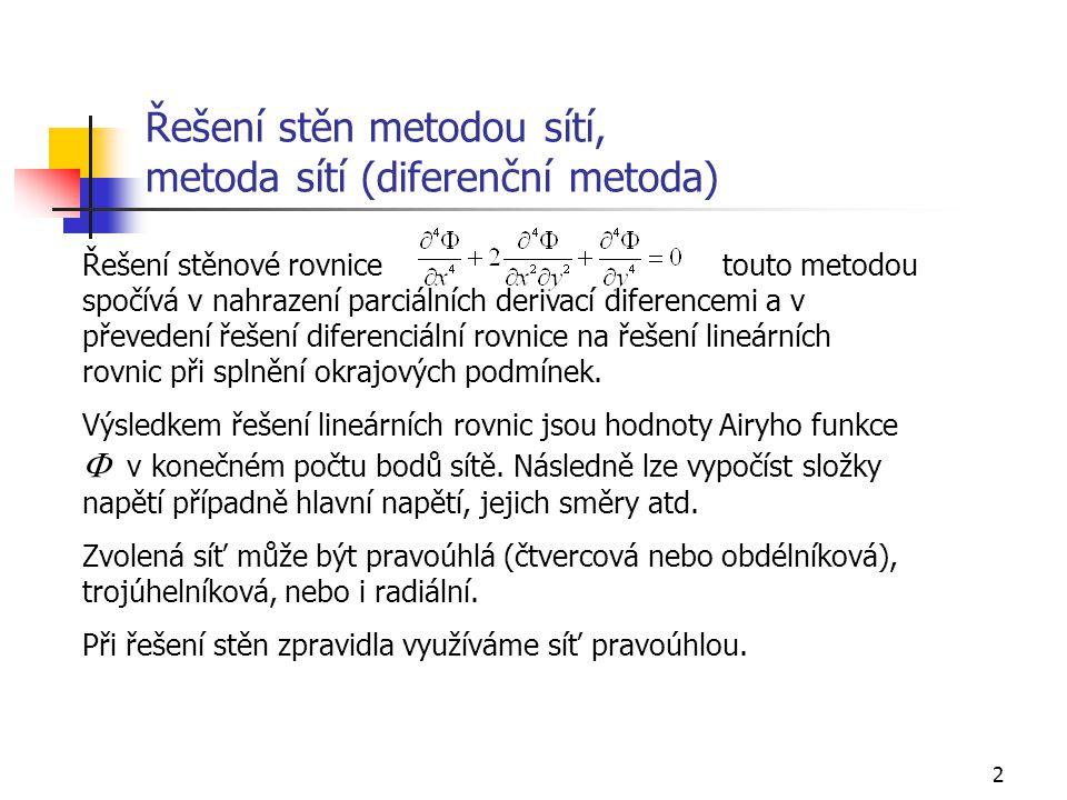 2 Řešení stěn metodou sítí, metoda sítí (diferenční metoda) Řešení stěnové rovnicetouto metodou spočívá v nahrazení parciálních derivací diferencemi a