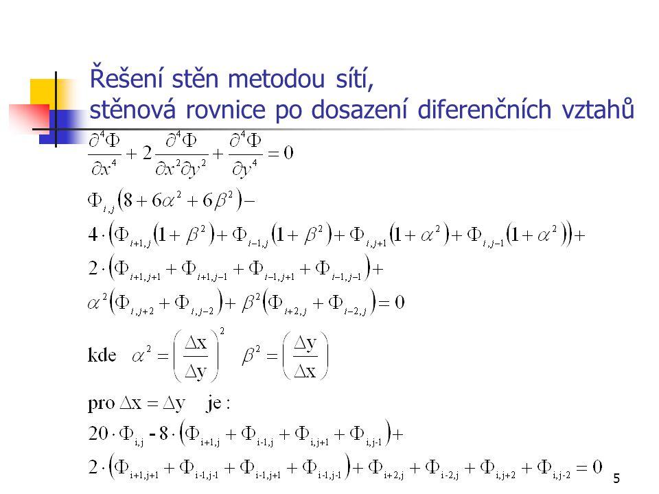 6 Řešení stěn metodou sítí, diferenční schéma (součinitele stěnové rovnice po nahrazení derivací Airyho funkce diferenčními vztahy)