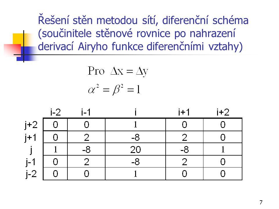 8 Výpočet napětí Známe-li hodnoty Airyho funkce v bodech sítě i,j, pak lze z diferenčních vztahů vypočíst také napětí: