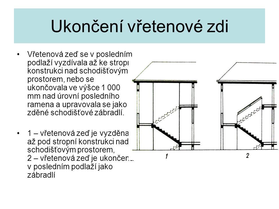 Ukončení vřetenové zdi Vřetenová zeď se v posledním podlaží vyzdívala až ke stropní konstrukci nad schodišťovým prostorem, nebo se ukončovala ve výšce