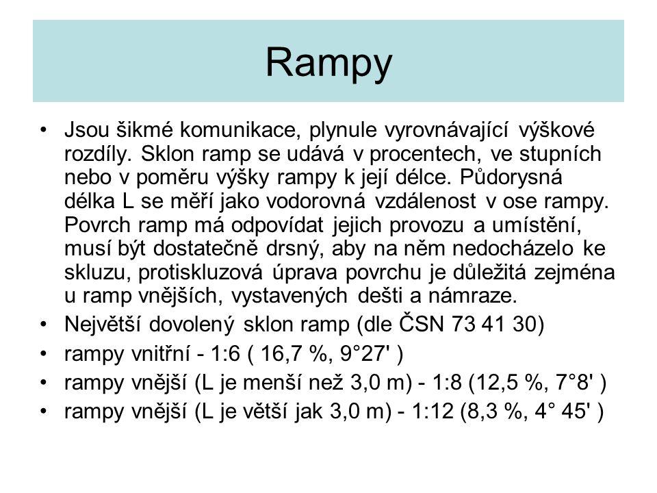 Rampy Jsou šikmé komunikace, plynule vyrovnávající výškové rozdíly. Sklon ramp se udává v procentech, ve stupních nebo v poměru výšky rampy k její dél