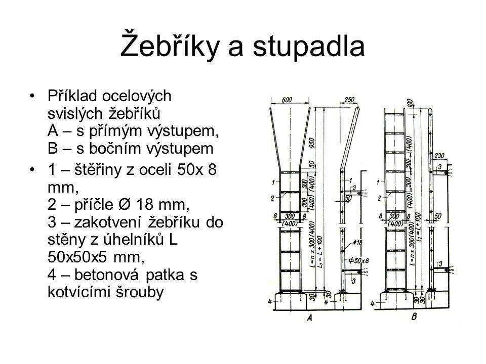 Žebříky a stupadla Příklad ocelových svislých žebříků A – s přímým výstupem, B – s bočním výstupem 1 – štěřiny z oceli 50x 8 mm, 2 – příčle Ø 18 mm, 3