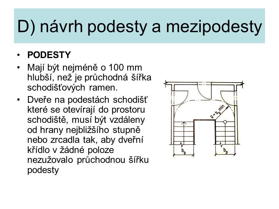 D) návrh podesty a mezipodesty PODESTY Mají být nejméně o 100 mm hlubší, než je průchodná šířka schodišťových ramen. Dveře na podestách schodišť které
