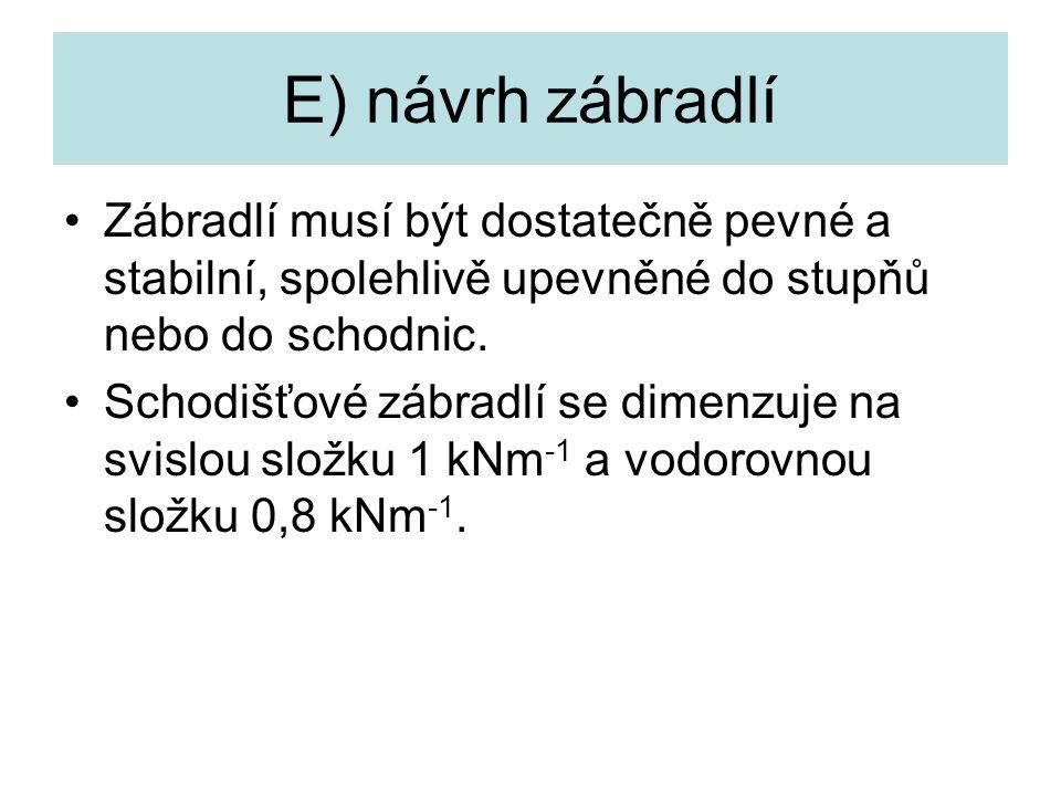 E) návrh zábradlí Zábradlí musí být dostatečně pevné a stabilní, spolehlivě upevněné do stupňů nebo do schodnic. Schodišťové zábradlí se dimenzuje na
