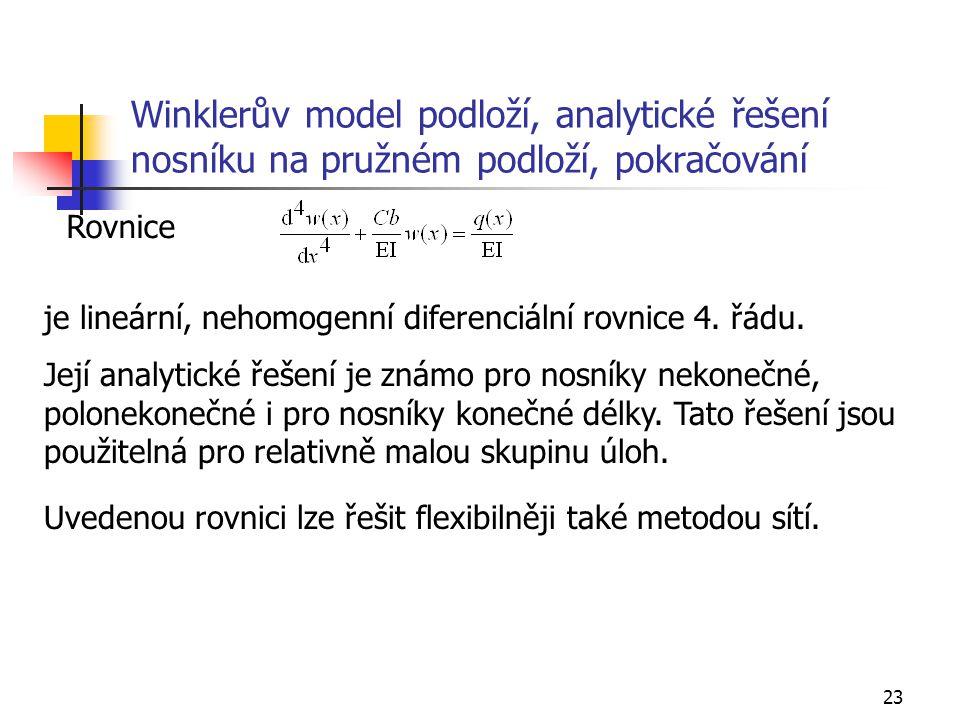 23 Winklerův model podloží, analytické řešení nosníku na pružném podloží, pokračování Rovnice je lineární, nehomogenní diferenciální rovnice 4. řádu.