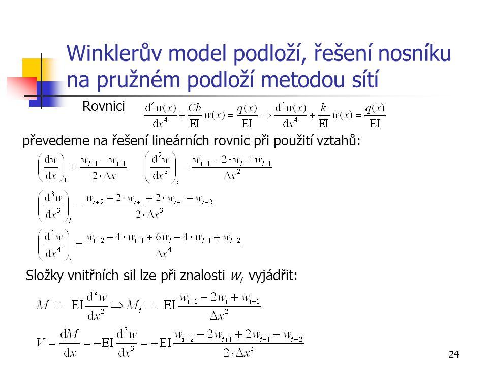 24 Winklerův model podloží, řešení nosníku na pružném podloží metodou sítí Rovnici převedeme na řešení lineárních rovnic při použití vztahů: Složky vn