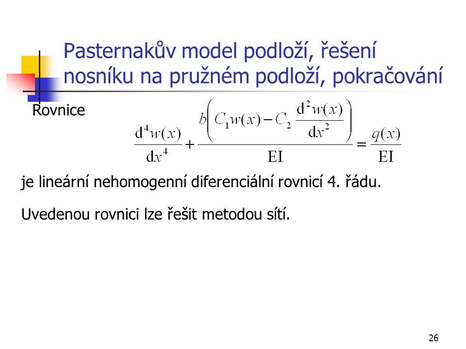 26 Pasternakův model podloží, řešení nosníku na pružném podloží, pokračování Rovnice je lineární nehomogenní diferenciální rovnicí 4. řádu. Uvedenou r