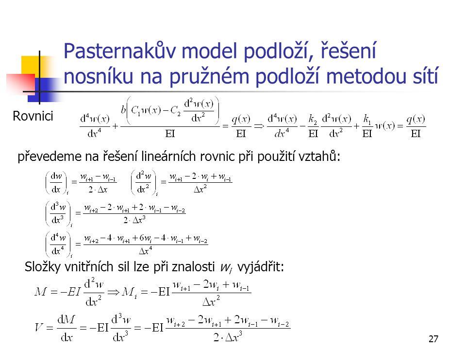 27 Pasternakův model podloží, řešení nosníku na pružném podloží metodou sítí Rovnici převedeme na řešení lineárních rovnic při použití vztahů: Složky
