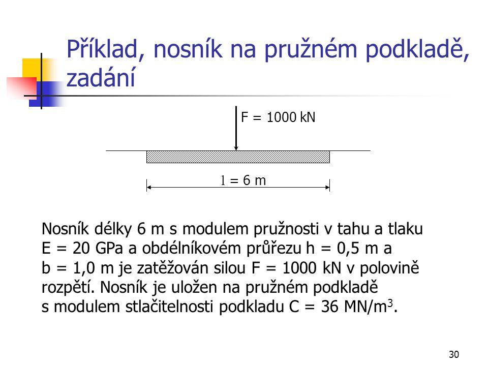 30 Příklad, nosník na pružném podkladě, zadání l = 6 m F = 1000 kN Nosník délky 6 m s modulem pružnosti v tahu a tlaku E = 20 GPa a obdélníkovém průře