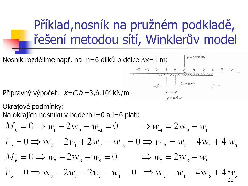 31 Příklad,nosník na pružném podkladě, řešení metodou sítí, Winklerův model Nosník rozdělíme např. na n=6 dílků o délce  x=1 m: Přípravný výpočet: k=