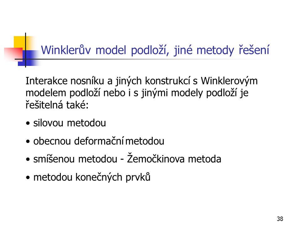38 Winklerův model podloží, jiné metody řešení Interakce nosníku a jiných konstrukcí s Winklerovým modelem podloží nebo i s jinými modely podloží je ř