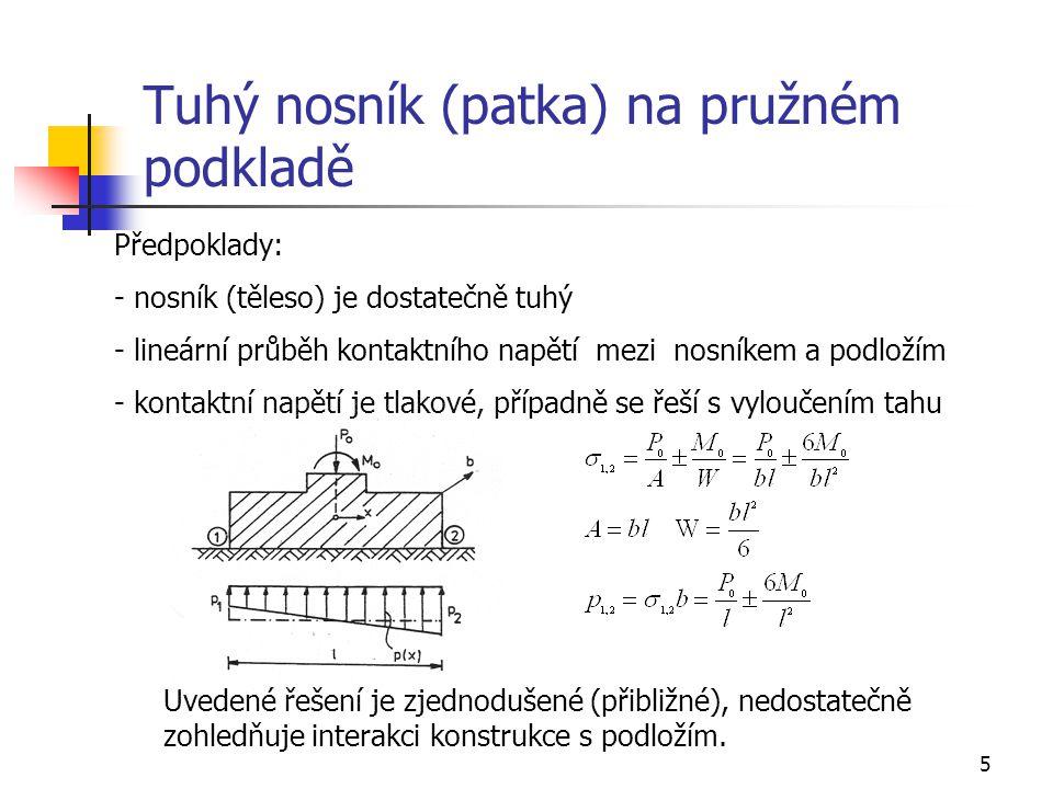 5 Tuhý nosník (patka) na pružném podkladě Předpoklady: - nosník (těleso) je dostatečně tuhý - lineární průběh kontaktního napětí mezi nosníkem a podlo
