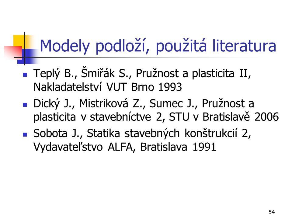 54 Modely podloží, použitá literatura Teplý B., Šmiřák S., Pružnost a plasticita II, Nakladatelství VUT Brno 1993 Dický J., Mistriková Z., Sumec J., P
