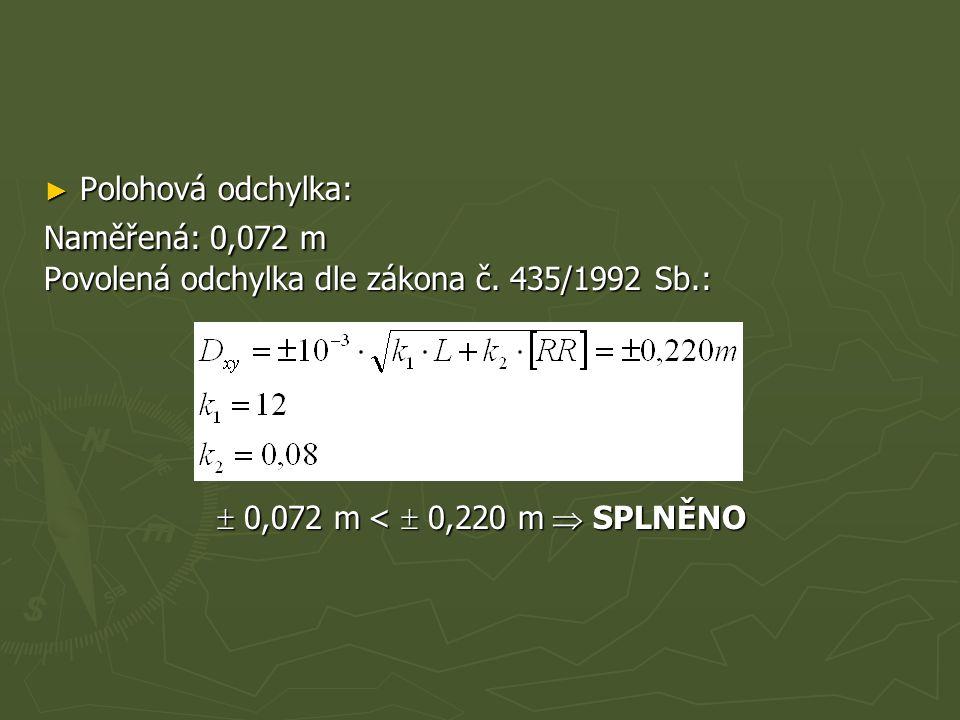 ► Polohová odchylka: Naměřená: 0,072 m Povolená odchylka dle zákona č. 435/1992 Sb.:  0,072 m <  0,220 m  SPLNĚNO