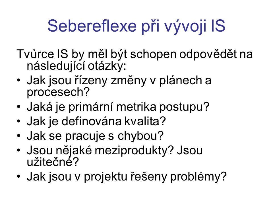 Sebereflexe při vývoji IS Tvůrce IS by měl být schopen odpovědět na následující otázky: Jak jsou řízeny změny v plánech a procesech.