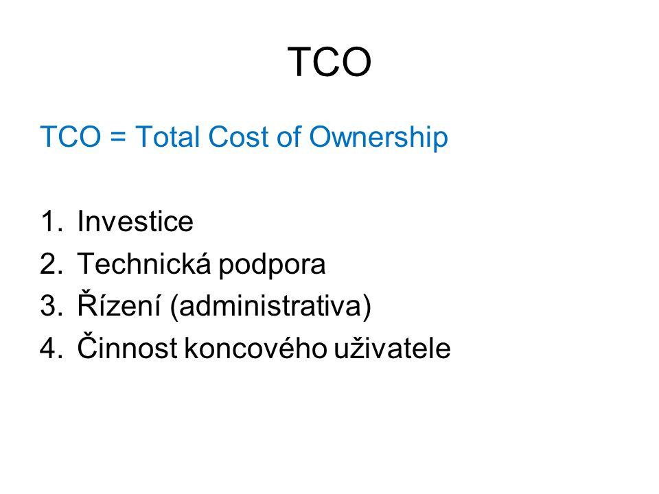 TCO TCO = Total Cost of Ownership 1.Investice 2.Technická podpora 3.Řízení (administrativa) 4.Činnost koncového uživatele