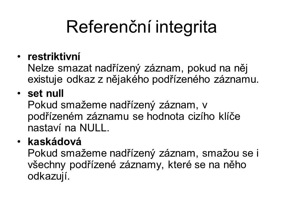 Referenční integrita restriktivní Nelze smazat nadřízený záznam, pokud na něj existuje odkaz z nějakého podřízeného záznamu. set null Pokud smažeme na