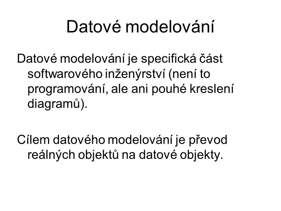 Datové modelování Datové modelování je specifická část softwarového inženýrství (není to programování, ale ani pouhé kreslení diagramů). Cílem datovéh