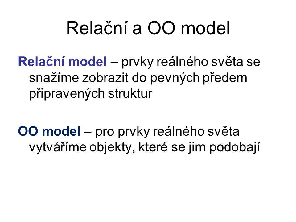 Relační a OO model Relační model – prvky reálného světa se snažíme zobrazit do pevných předem připravených struktur OO model – pro prvky reálného svět