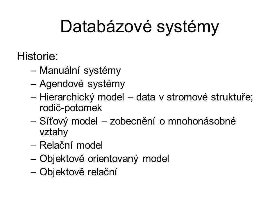 Databázové systémy Historie: –Manuální systémy –Agendové systémy –Hierarchický model – data v stromové struktuře; rodič-potomek –Síťový model – zobecn