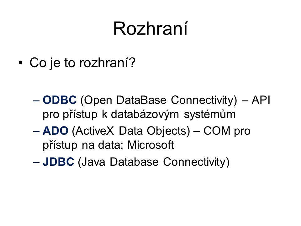 Rozhraní Co je to rozhraní? –ODBC (Open DataBase Connectivity) – API pro přístup k databázovým systémům –ADO (ActiveX Data Objects) – COM pro přístup