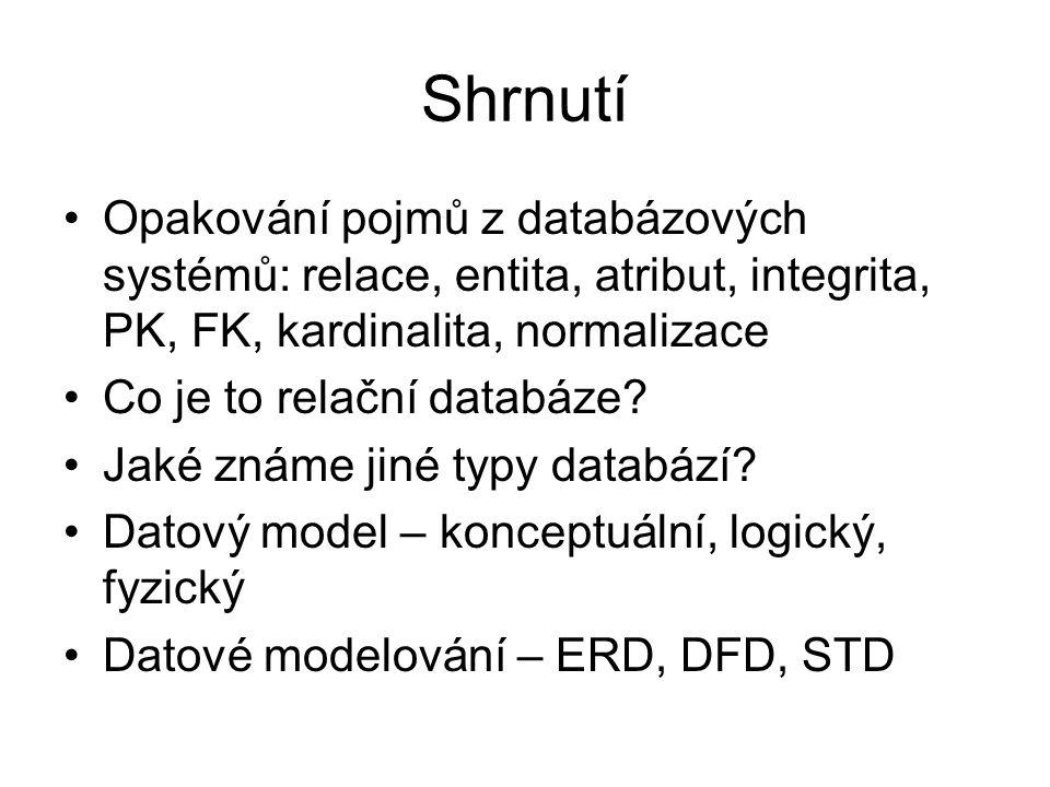 Shrnutí Opakování pojmů z databázových systémů: relace, entita, atribut, integrita, PK, FK, kardinalita, normalizace Co je to relační databáze? Jaké z