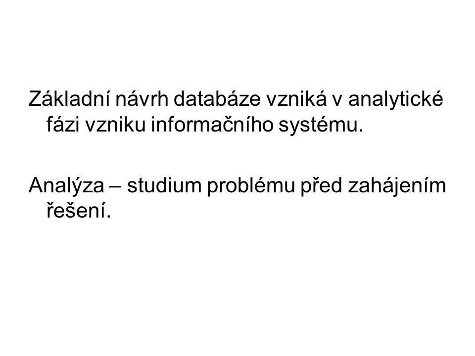 Základní návrh databáze vzniká v analytické fázi vzniku informačního systému. Analýza – studium problému před zahájením řešení.