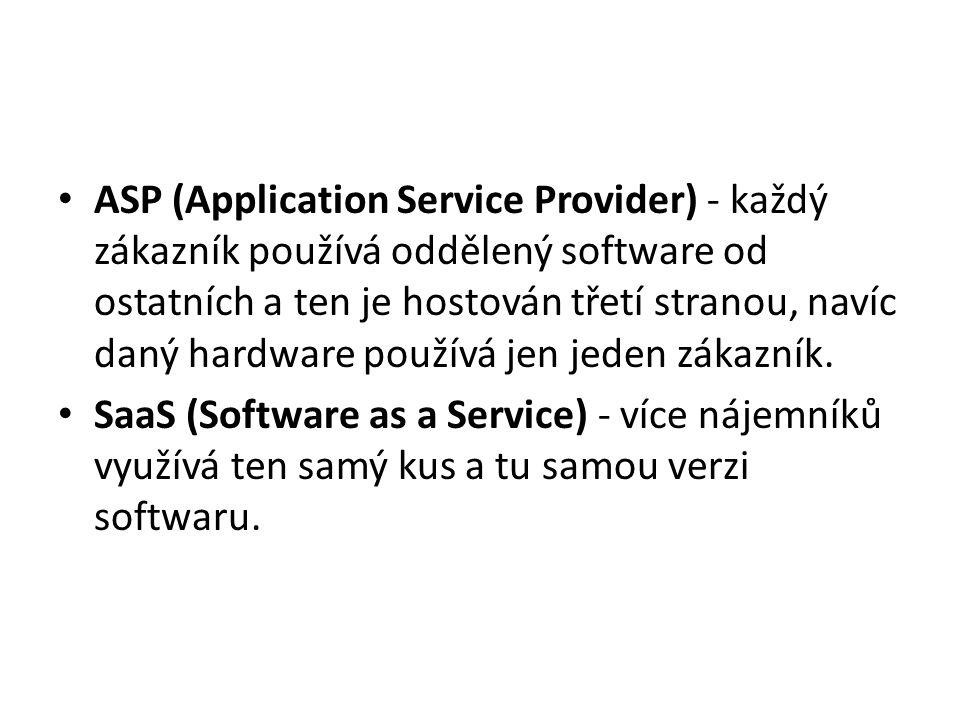 ASP (Application Service Provider) - každý zákazník používá oddělený software od ostatních a ten je hostován třetí stranou, navíc daný hardware používá jen jeden zákazník.
