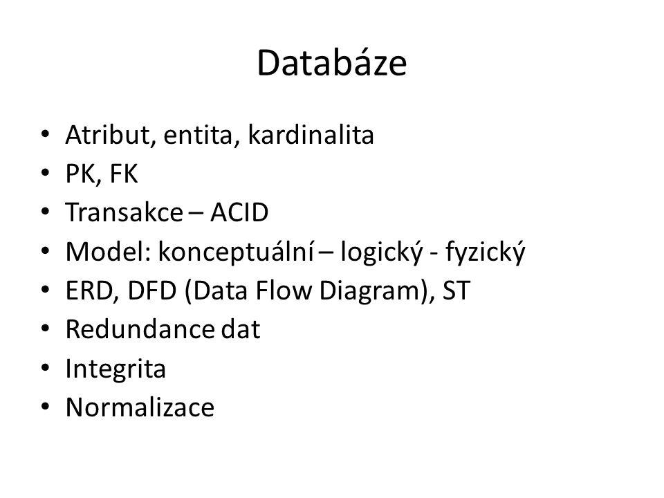 Databáze Atribut, entita, kardinalita PK, FK Transakce – ACID Model: konceptuální – logický - fyzický ERD, DFD (Data Flow Diagram), ST Redundance dat