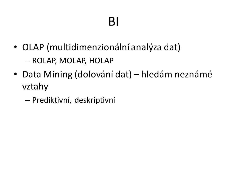 BI OLAP (multidimenzionální analýza dat) – ROLAP, MOLAP, HOLAP Data Mining (dolování dat) – hledám neznámé vztahy – Prediktivní, deskriptivní