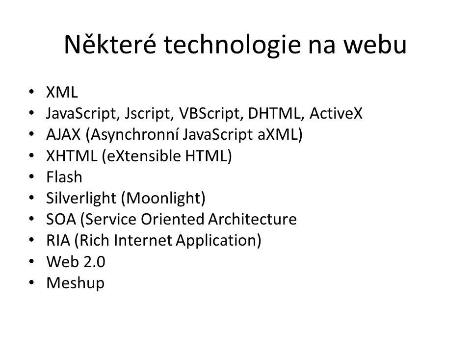 Některé technologie na webu XML JavaScript, Jscript, VBScript, DHTML, ActiveX AJAX (Asynchronní JavaScript aXML) XHTML (eXtensible HTML) Flash Silverl