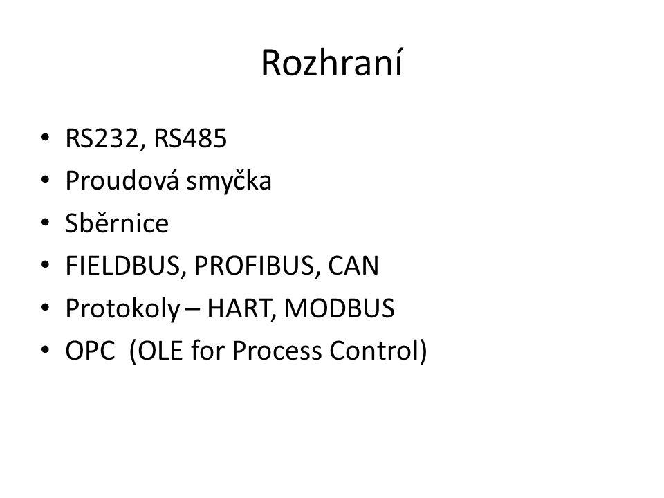 Rozhraní RS232, RS485 Proudová smyčka Sběrnice FIELDBUS, PROFIBUS, CAN Protokoly – HART, MODBUS OPC (OLE for Process Control)