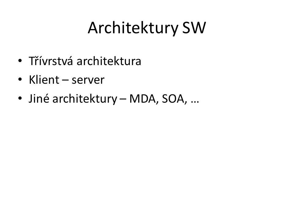 Architektury SW Třívrstvá architektura Klient – server Jiné architektury – MDA, SOA, …