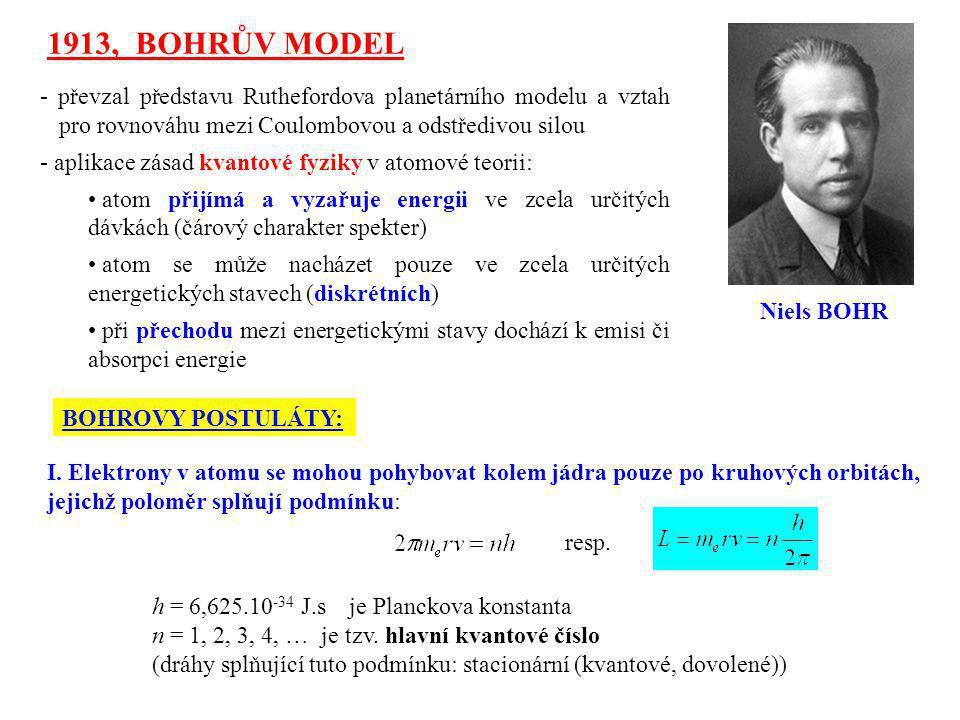 1913, BOHRŮV MODEL - převzal představu Ruthefordova planetárního modelu a vztah pro rovnováhu mezi Coulombovou a odstředivou silou - aplikace zásad kv