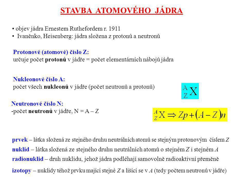 STAVBA ATOMOVÉHO JÁDRA objev jádra Ernestem Ruthefordem r. 1911 Ivaněnko, Heisenberg: jádra složena z protonů a neutronů Protonové (atomové) číslo Z: