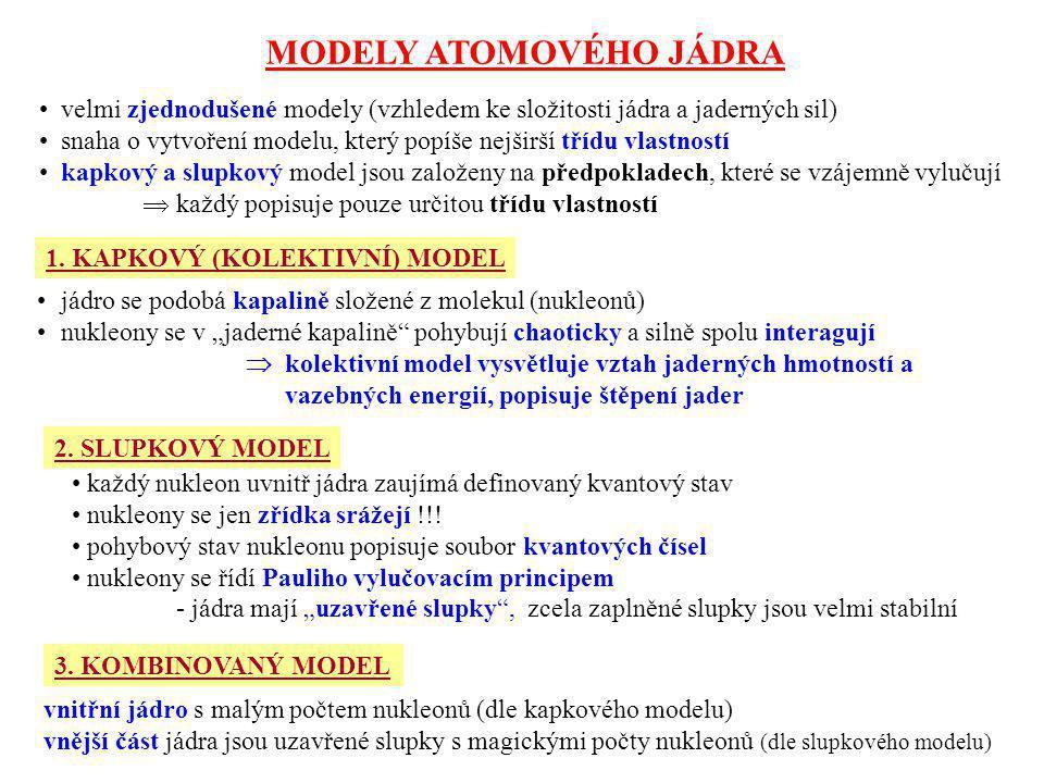 MODELY ATOMOVÉHO JÁDRA velmi zjednodušené modely (vzhledem ke složitosti jádra a jaderných sil) snaha o vytvoření modelu, který popíše nejširší třídu