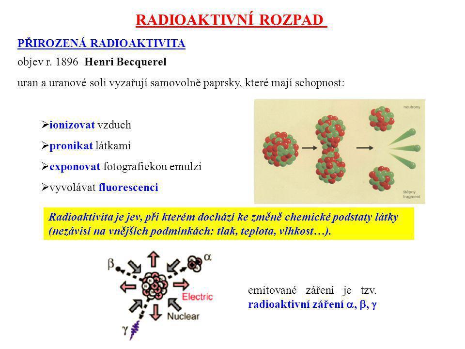 RADIOAKTIVNÍ ROZPAD PŘIROZENÁ RADIOAKTIVITA objev r. 1896 Henri Becquerel uran a uranové soli vyzařují samovolně paprsky, které mají schopnost:  ioni