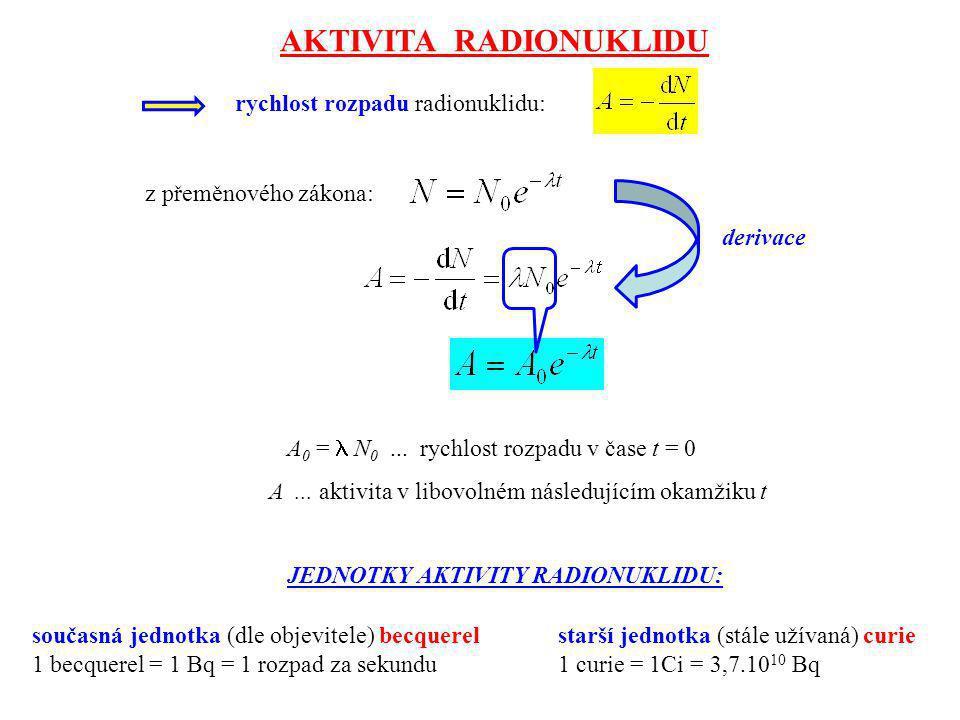 rychlost rozpadu radionuklidu: z přeměnového zákona: A 0 = N 0... rychlost rozpadu v čase t = 0 A... aktivita v libovolném následujícím okamžiku t JED