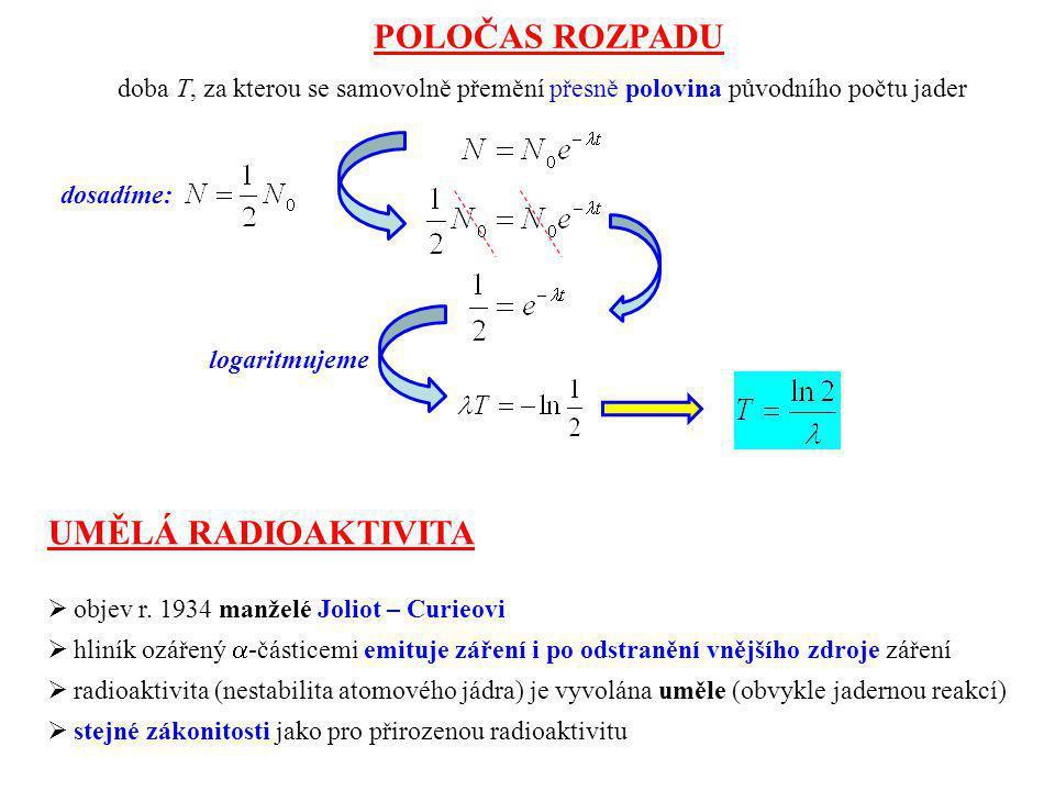 POLOČAS ROZPADU doba T, za kterou se samovolně přemění přesně polovina původního počtu jader UMĚLÁ RADIOAKTIVITA  objev r. 1934 manželé Joliot – Curi