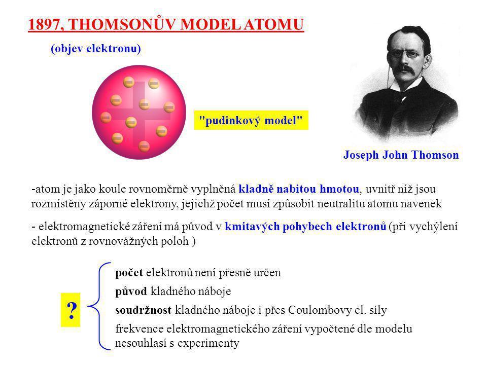 Ernest Rutherford 1911, RUTHERFORDŮV MODEL ATOMU zjednodušeně: objev atomového jádra  od roku 1906 pokusy k potvrzení či vyvrácení Thomsonova modelu  ostřelování tenké zlaté fólie alfa částicemi (jádra He) očekávání dle Thomsonova modelu: skutečnost: