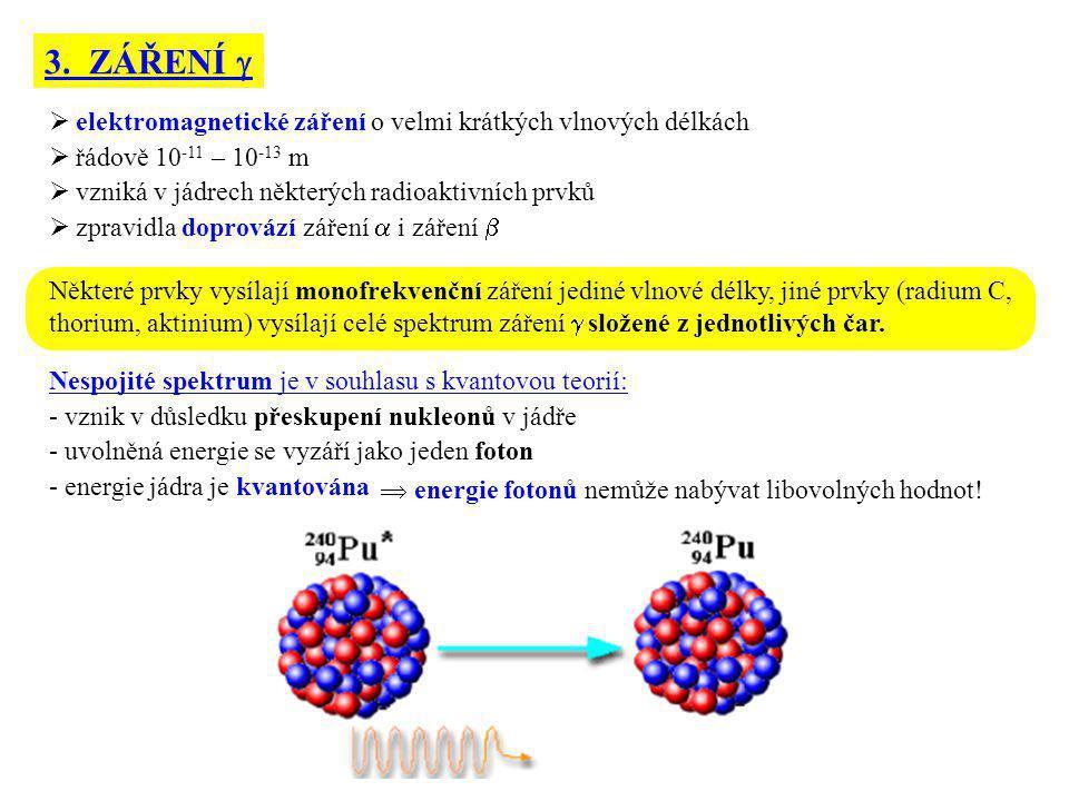 3. ZÁŘENÍ   elektromagnetické záření o velmi krátkých vlnových délkách  řádově 10 -11 – 10 -13 m  vzniká v jádrech některých radioaktivních prvků