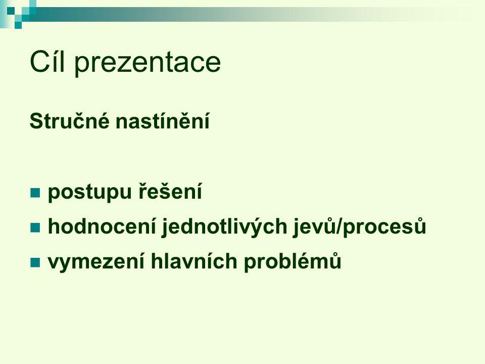 Cíl prezentace Stručné nastínění postupu řešení hodnocení jednotlivých jevů/procesů vymezení hlavních problémů