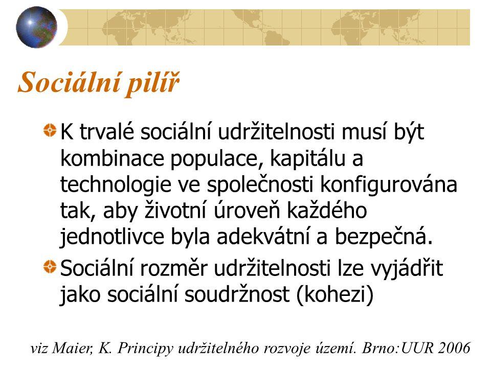 Sociální pilíř K trvalé sociální udržitelnosti musí být kombinace populace, kapitálu a technologie ve společnosti konfigurována tak, aby životní úroveň každého jednotlivce byla adekvátní a bezpečná.
